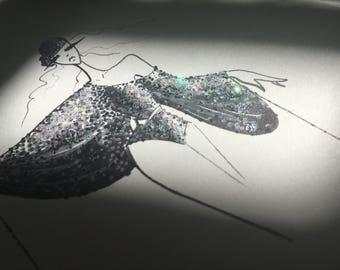 disco queen / original fashion illustration / ink pen drawing / glam decor / fine art fashion sketch