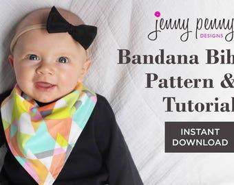 Bandana Bib Pattern and Tutorial. Sewing Pattern and Tutorial with Instructions. Make your own Bandana Bib. DIY Baby Bib.