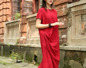 Red kaftan Dress with pockets, Maxi Linen Dress, Linen Tunic Dress, Asymmetrical Dress, Ruffle Dress, Red Dress, Short Sleeve Dress