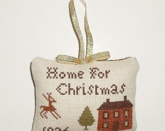 Finished Cross Stitch Primitive Tuck Pinkeep Christmas Decor Decorative Ornament Pillow Ready to Ship