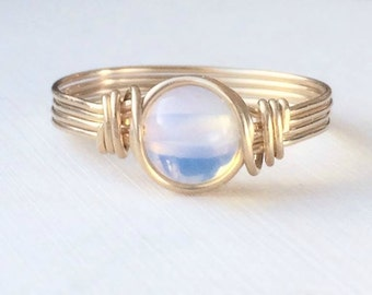 Opaline Ring, 14k Gold Filled Ring, Wire Wrapped Ring, Boho Ring
