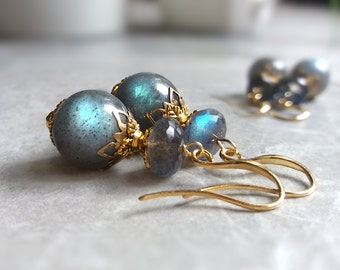 Labradorite earrings, dangle gemstone earrings, labradorite jewelry, birthday gift, girlfriend gift for her, women's gifts, gemstone jewelry