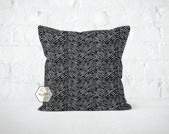 Black Chevron Pillow Cover - Cameron Black - Lumbar 12 14 16 18 20 22 24 26 Euro - Hidden Zipper Closure