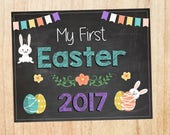 My First Easter Sign. PRINTABLE photo prop. chalkboard digital instant download. baby's 1st easter print.