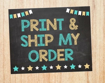 Print and Ship a PHYSICAL COPY. Red Morning Studios customized chalkboard sign or poster