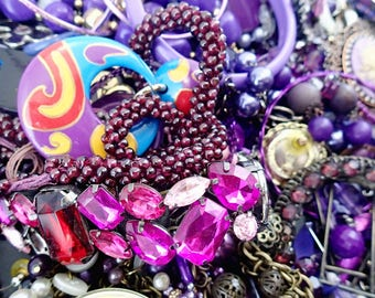FREE SHIPPING Purple Destash Junk Broken Mixed Vintage Jewelry Lot of 3 Pounds Crafting Supplies Making Rhinestones Beads Pins Brooches 1