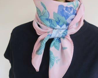 Floral Silk Scarf, pink floral scarf, blue rose scarf, square silk scarf, feminine scarf, summer headscarf, pink blue silk, pink hair wrap