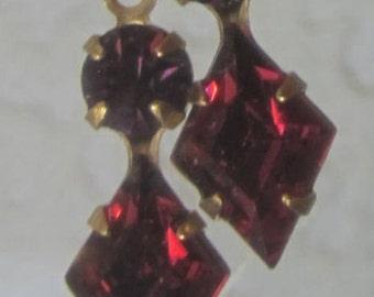 Diamond, Rhombus, KITE, 18MM, Ruby, Amethyst, Swarovski Crystal, Multi 2 Stone, Rhinestone, In Brass, CB, 1 Ring, Setting, Charm, Drop,