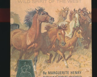 vintage children's book, Mustang By Marguerite Henry, good condition