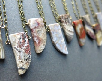 Horn Necklace - Boho Tusk Necklace - Agate Necklace - Boho Stone Necklace - Stone Layering Necklace - Agate Jewelry - Tusk Pendant