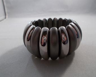 SALE Gray and Silver Tone Stretch Cuff Bracelet