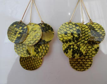 Gold Tone Layered Earrings with Yellow and Black Disc Bead Dangles