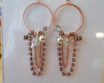 Gold Tone Hoop Earrings with Chains, Rhinestone and Charm Dangles