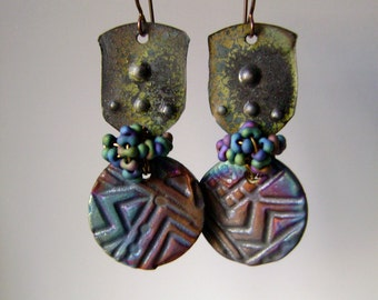 colorful raku assemblage earrings with textured metal and artisan ceramic beads, metalsmith jewelry, lightweight earrings,  AnvilArtifacts