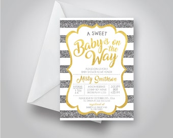 A Sweet Baby is on the Way Neutral Baby Shower Invitation, Gold and Gray Stripes, baby shower, 5x7