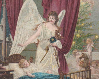 Christmas Angel With A Sleeping Child - Original Antique Card