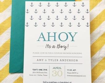 Ahoy its a Boy Baby Shower invitation, nautical anchor boy baby shower, ahoy baby shower, ahoy its a boy invite, couples baby shower invite