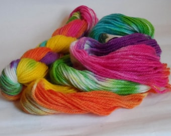 Playing With The Paintbox Rainbow Variegated Aran Wool 50g