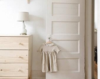Oatmeal linen dress, linen dress, sleeved dress