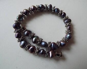 "grey baroque  freshwater pearl bracelet 6-7mm size 7"""