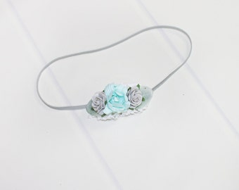 A Walk in the Clouds - dainty headband in aqua, grey and white (RTS)