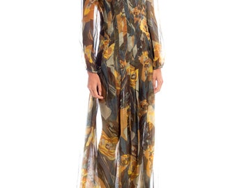 1970s Pauline Trigere Abstract Floral Print Pleated Maxi Dress Size: S/M