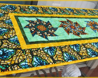 Quilted Table Runner Quilt Art Glass Yellow 628