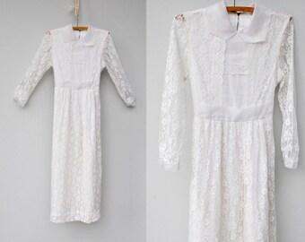 Vintage 70s LACE Dress - White Lace Dress - Maxi Dress - Wedding Dress - Bride Bridal Dress - Romantic Boho Hippie size XXS - XS - 00 - 0