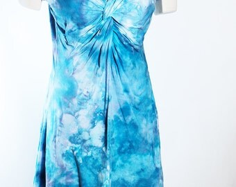 Size Large Twisted Tee Dress, Shortsleeves, Tie Dyed  Ice Dyed Blue and Periwinkle, Ready To Ship