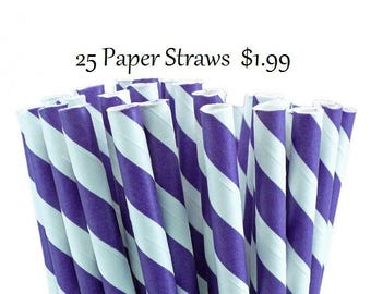 Dark Purple and White Striped Paper Straws