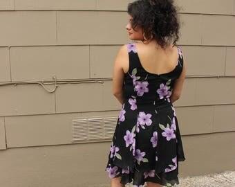 90s black sheer dress with purple flowers size 8 medium
