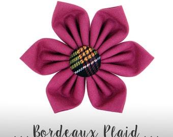 Purple Wine and Black Plaid Flower for Collar/ Bow Collar Attachment: Bordeaux Plaid
