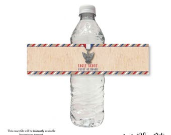 EAGLE SCOUT court of honor, water bottle wrap, label, sticker, instant digital download,  diy, printable file