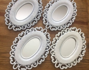 4 Vintage Shabby Chic Oval Mirrors
