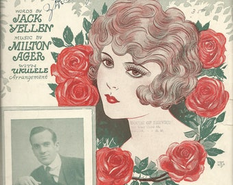 Vintage 1927 Are You Happy? Sheet Music Al Jolson Roses Flapper
