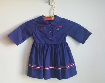 1950's Navy Blue Dress - Red & White Trim - Lil' Sailor Girl - Vintage 50s Toddler Dress Size 3T