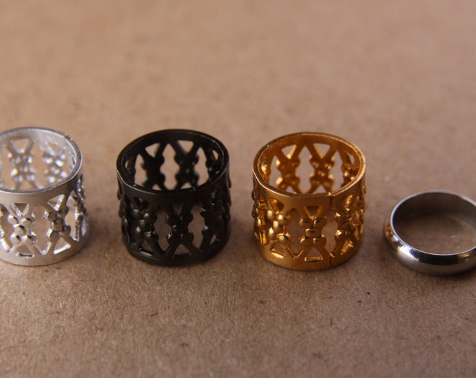 9mm Hole (3/8 Inch) Filigree Dreadlock Cuffs Dread Hair Beads & FREE Stainless Steel Ring Bead