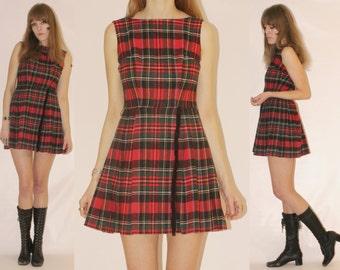 Vtg 60s Tartan Plaid Wool Mini Dress