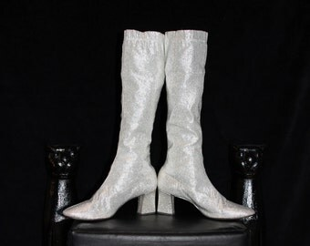 Solid Silver-60's Silver Lame Fabric Pull-On Knee High Go-Go Boots