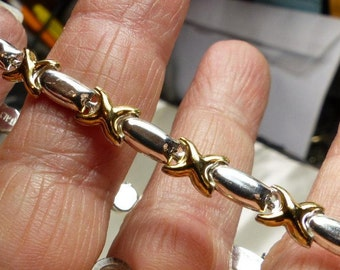 """Sterling Silver X Bracelet with Gold over X's 7 grms- 7""""- lobster claw-6mm wide. dainty. 1651 SM"""