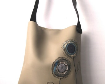 Beige PVC Appliqued Tote Bag TFB005