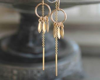 14k gold filled Threader earring, threaded thread chain, eternity circle rings & mini leaves, gold leaf drops, pair dangle earrings