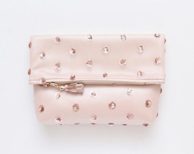 Rose gold bag. Sequin purse. Metallic purse. Folded clutch bag. Wedding purse. Bridal bag. Bridesmaids bag. Nude polka dot sequins /BRIDAL 6
