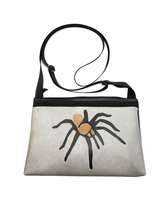 Tarantula, gray vinyl, medium crossbody, vegan leather, zipper top
