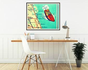 COCOA BEACH map art, retro Florida map art 1960's Florida vintage beach map,Cocoa Sebastian Vero Beach map art,aqua red speedboat, beach map