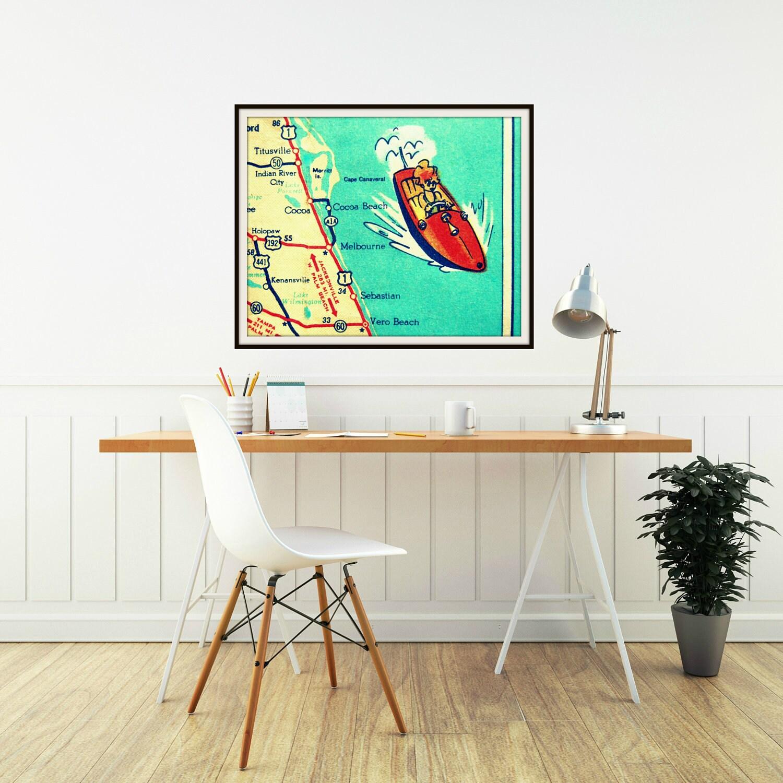 Man Cave Vero Beach : Cocoa beach map art retro florida s