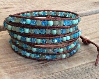 Turquoise Wrap Bracelet - Turquoise Mix Beads, Natural Leather - Boho Beach Surfer Wrap