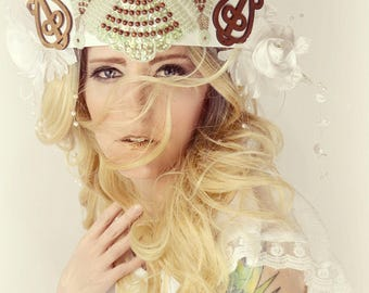 Festival boho tiara crown headpiece,runway,fashion accessory,headdress, burning man,hair halo