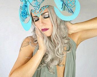 Blue cathedral lattice floral jewel headpiece crown tiara fascinator hat headdress fashion accessory costume