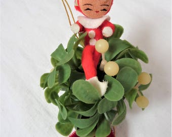 Vintage Christmas Kitsch Mistletoe Ball Elves Pixie 1 Plastic Ornament